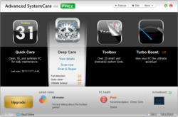 AdvancedSystemCare main screen