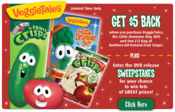 VeggieTales® and Brothers-All-Natural® Fruit Crisps have teamed up for the Holiday season 2011. Kids of all ages will love the VeggieTales version of this classic Holiday Story! Enjoy your favorite fruit snacks with your favorite Veggie DVDs!