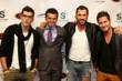 Teddy Volynets, Tony Dovolani, Max Chmerkovsky and Val Chmerkovsky of Dancing With the Stars arrive for CieAura's Manny Pacquiao Post-Fight Charity Event at the Supperclub in Hollywood