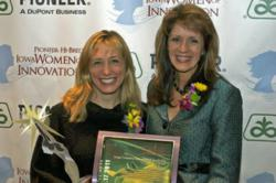 Women of Innovation award winner Kristin Runyan, CIO and VP, Product Management at CDS Global  (left) with Dawn Ainger, president and CEO at Genova Technologies (right).