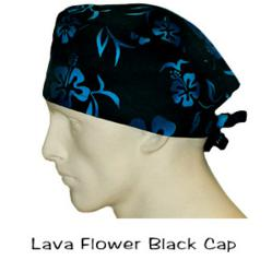 Black Lava Flowers Surgical Scrub Caps