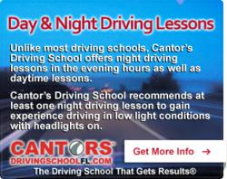 Night Driving Lessons at Cantor's Driving School