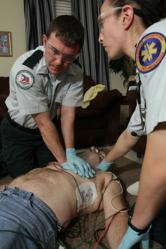 Acadian medics performing Hands-Only CPR