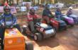 STA-BIL Series lawn mower racers showcase their Wheelies tractor wheel covers.