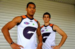 The Greater Western Sydney Giants with new Lifebroker logos