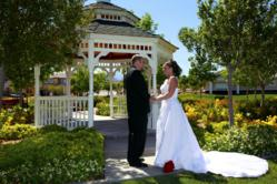 A couple getting married in Las Vegas Gazebo