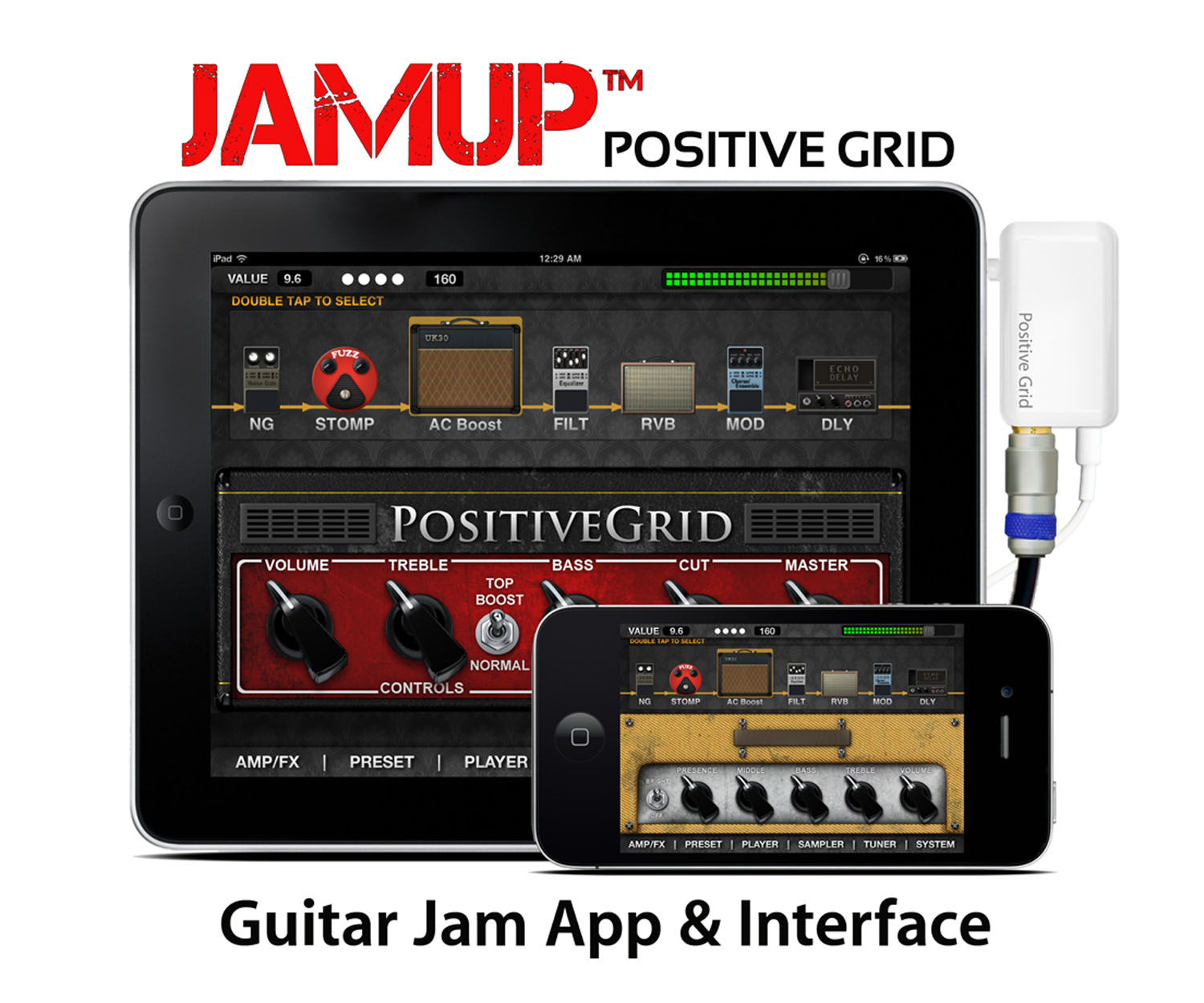 positive grid ships the new jamup guitar interface and jamup app which turns the iphone and. Black Bedroom Furniture Sets. Home Design Ideas