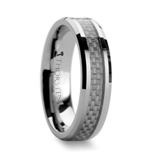 White Carbon Fiber Inlay Ring
