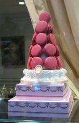 Tower of Raspberry Macaron at LaDuree in New York