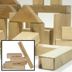 Laser Blox™ Hand Made Toy Building Blocks Made From Natural Wood Personalized By Laser Engraving