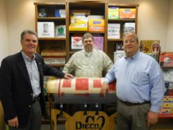 Randy Reynolds (left) new AVantage Business Development Manager, with Rob Moseley, Production Manager of Graphics2Press (center) and Sam Merenda, President of Graphics2Press.