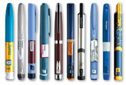 Photo of several insulin pens