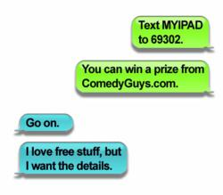 comedy guys defensive driving contest, text message giveaway, win a free apple TV