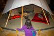 Scoping out a tipi in the Plains Indian gallery