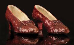 The original screen-used Ruby Slippers worn by Judy Garland from The Wizard of Oz