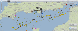 shipfinder.co shows marine traffic across the globe