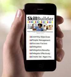 A Skillbuilder Magmito-based m-Learning app as seen on a mobile phone