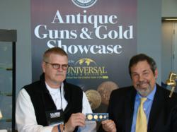 Mike Fuljenz (right), President of Universal Coin & Bullion, talks with Michael Crow (left) about his rare gold coins at the NRA's 2011 Antique Guns & Gold Showcase.