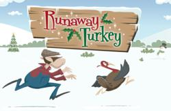 'Runaway Turkey' Christmas ecard from Katie's Cards