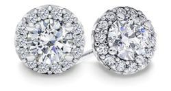 Halo Diamond Earrings in White Gold
