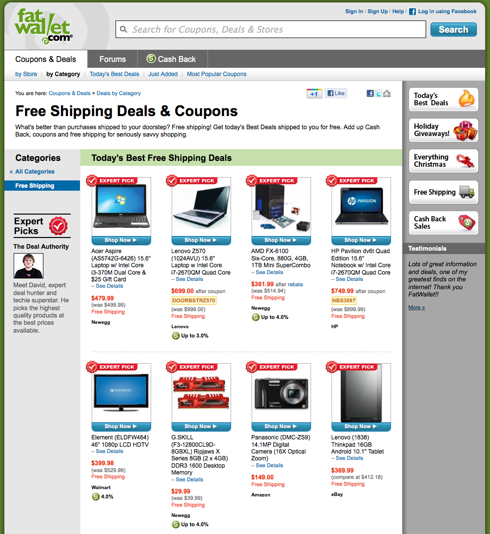 Free shipping deals