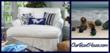 slipcovered chaise and sea glass floats