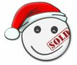 Smiley, the BuyMyFace.com logo, with a festive twist