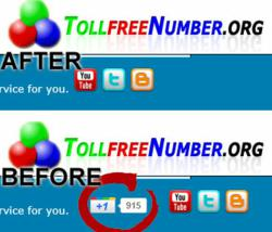 Google Plus removed from the Tollfreenumber.ORG website