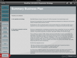 StratPad creates a summary business plan that can be viewed on your iPad.