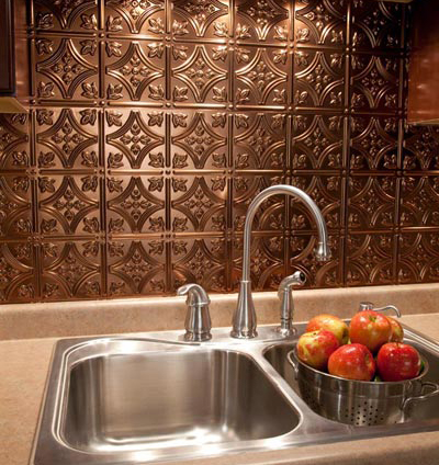 fasade faux metal backsplash from backsplashideascomthis faux metal backsplash panel can transform any kitchen decor - Kitchen Metal Backsplash
