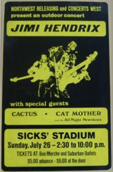 Jimi Hendrix concert poster from Sicks Stadium concert on July 26, 1970 in Seattle Washington
