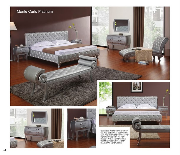 Modern Bedroom Set Italian Leather Sectional Sofa