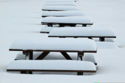 Picnic Tables in Snow