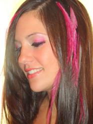 Winner in the Air Feather Extensions Pink Ribbon Contest for Breast Cancer Awareness: Beauty: Model Arlene Hall, Make up, Hair, Feathering and Photography by winner Kristi Bennetti