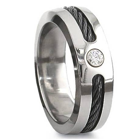 Black Cable Titanium Ring with CZ