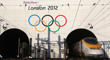 Giant Olympic Rings unveiled at Channel Tunnel entrance