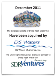 SDR Ventures advises Deep Rock Water Co. in the sale of assets to DS Waters of America
