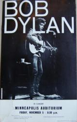 Minneapolis Auditorium Bob Dylan Concert Poster, November 1965