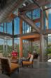 Crafted using 55' Douglas fir glulam timbers with traditional mortise and tenon design, the structure helps balance the concrete and steel of the new dormitory, while playing homage to the region's post and beam roots