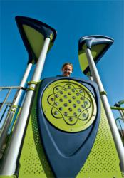 PlayBooster® Vibe™ combines materials to create a modern look for your playground.