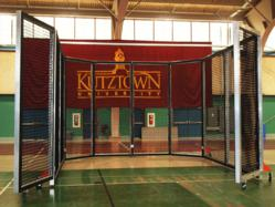 Portable Indoor Throwing Cage with Hinged Gate and Wheel Upgrades