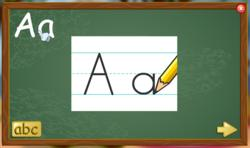 Learn to print letters and numbers in children's online virtual classroom