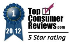 TopConsumerReviews.com 2012 5-Star Award