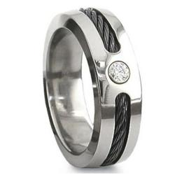 Black Cable Titanium Ring