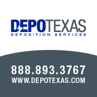DepoTexas Company Logo with Contact Info