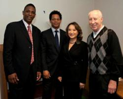 Assembly Member Mary Hayashi with AB 25 supporters former 49ers Eric Davis and Keena Turner, and former Raider Fred Biletnikoff