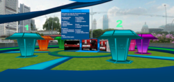 Singapore Games Village main island with game kiosk, game directory, and teleporters