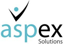 The Aspex Solutions logo leverages the recognizable 'asp' stylization from the General ASP logo.