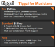 Free, Standard & Pro Editions of Tiggzi for Musicians are available