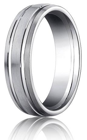 Designer Platinum Mens Wedding Ring With Satin Finish ...